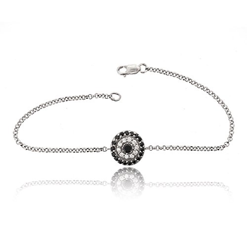 SOVATS Round Evil Eye Chain Bracelet For Women Set With White Cubic Zirconia 925 Sterling Silver Rhodium Plated - Lucky Symbol And Protection Jewelry Bracelet, Size 7