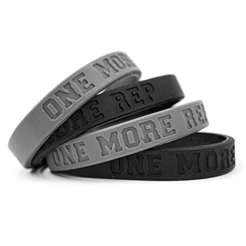 Fitdom Inspirational Silicone Sports Wristbands for Adults. Custom Embossed with Saying One More Rep for Athletes Who Love Crossfit, Workout, Weight Training & All Repetitive Exercise