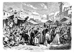 """Grabado antiguo (1872) - Xilografía - Madrid.- Mercado De """"Las Américas"""", En El Rastro (21x30), Miranda"""