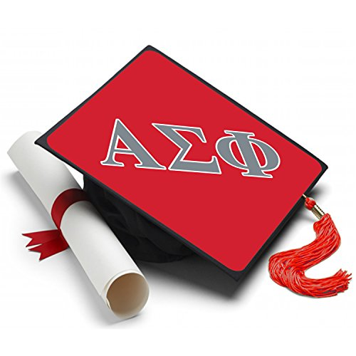 Alpha Sigma Phi Graduation Cap Hat Topper Decoration Fraternity 8.5 x 8.5 Inch Alpha Sig Red