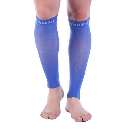 (Doc Miller Premium Calf Compression Sleeve 1 Pair 20-30mmHg Strong Calf Support Fashionable Colors Graduated Pressure for Sports Running Muscle Recovery Shin Splints Varicose Veins (Blue, Large))