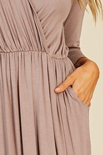 3/4 Manches Col V Enveloppe Nouée À La Taille Des Robes Longues Maxi Poches De Moutarde Femmes Annabelle