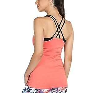 icyzone Women Workout Yoga Spaghetti Strap Racerback Tank Top with Built in Bra