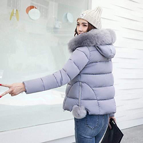 con Sólido Invierno Moda Acolchada Cremallera Termica Joven Bolsillos Moda Capa Capucha Delanteros Gris Pluma Mujer Color Modernas Outwear Larga Chaqueta con Manga C5xHH6