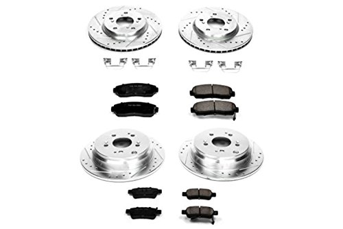 Power Stop K4044 Front & Rear Brake Kit with Drilled/Slotted Brake Rotors and Z23 Evolution Ceramic Brake Pads