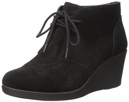 crocs Women's Leigh Suede Wedge Shootie Boot, Black, 11 M - Black Croc Suede