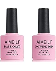 AIMEILI No Wipe Top Coat et Base Coat Semi Permanent UV LED Soak Off Vernis à Ongles Base et Top Coat Vernis Gel Nail Polish Set Manucure Kit 2x10ml
