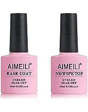 AIMEILI Top Coat en Base Coat Set UV LED Nagellak Gel Nagellak Soak-Off Clear Gloss Nagel Gel Nail Polish Art Manicure 2pcs x10 ml