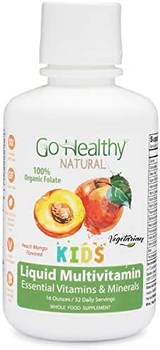 Go Healthy Natural Kids Liquid Multivitamin Organic Folate Vegetarian Plant-Based Whole Food- 32 Servings