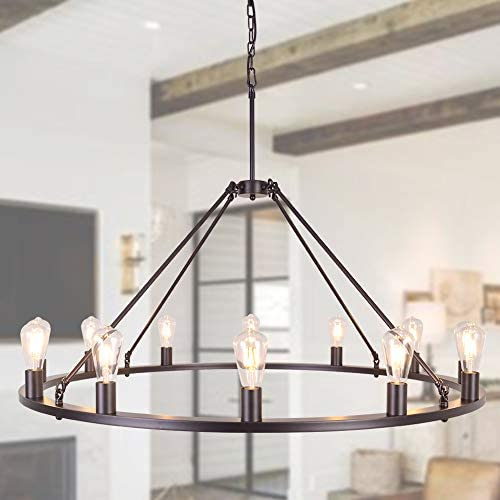 OSAIRUOS W47'' Vintage Rustic Rod Iron Chandelier Farmhouse Ceiling Pendant Chandeliers Lighting Fixture Industrial Decor Round Island 12 Light