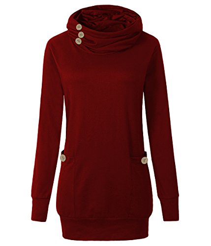 Detail Tunic - Yibye Womens Long Sleeve Button Cowl Neck Casual Slim Tunic Tops With Pockets (Red, M)