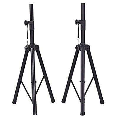 Costzon Height Adjustable Pair of Tripod DJ PA Speaker Stands Adjustable Height Stand w/Carry Bag by Costzon