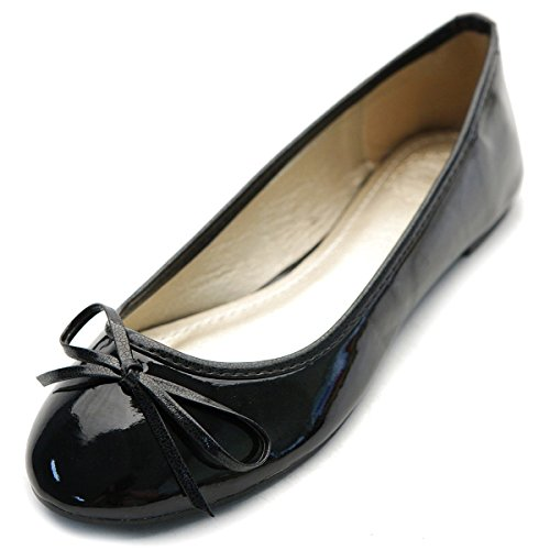 Ballet Accent Womens Ollio Shoe Flat Enamel Multi Black Color Ribbon Cute PqFH5w