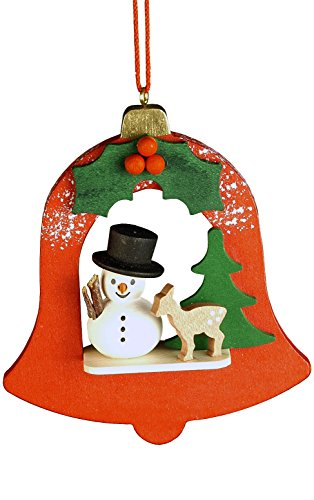 (Alexander Taron Importer 10-0458 Christian Ulbricht Ornament - Snowman in Red Bell - 3.5