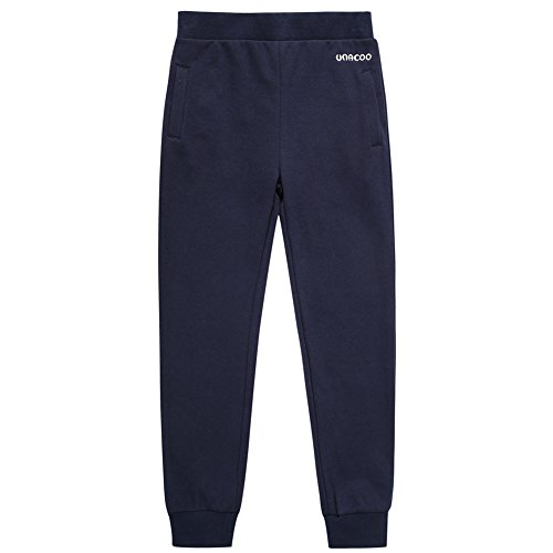 - UNACOO Boys Casual Soft French Terry Cotton Pull-on Jogger Pants with 2-Pocket (Navy, m(7-8T))