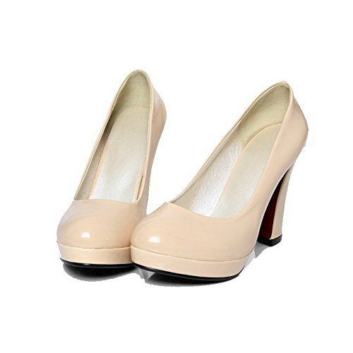 AgooLar Damen Hoher Absatz PU Rein Ziehen auf Stiefel, Aprikosen Farbe, 35