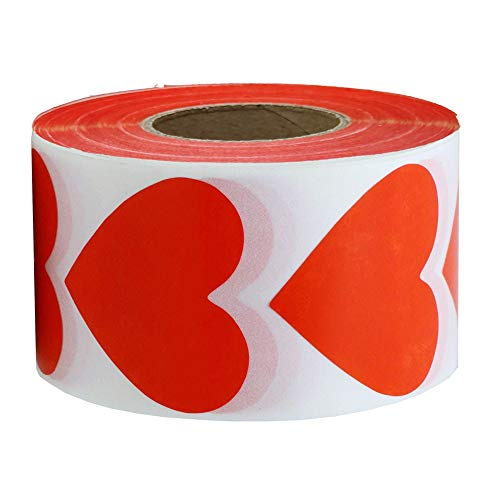 (Red Heart Stickers Valentine's Day Crafting Scrapbooking Labels Heart Shape Color Coding Labels- 2