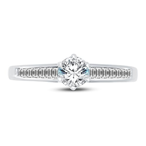 (Size - 5 - Jewel Tie 14K White Gold Round Channel Invisible Set Small Solitaire Engagement Ring Cubic Zirconia CZ (1.0cttw.50ct. Center))