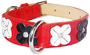 Flower Rivet Tapered Dog Collar, Extra Large Size 17-22, Red with Black and White Flowers