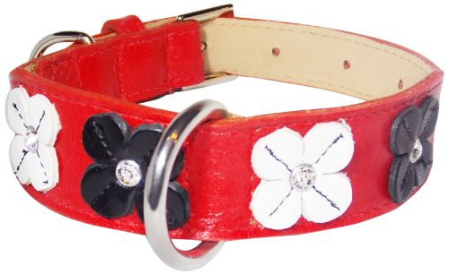 Flower Rivet Tapered Dog Collar, Small Size 9-11, Red with Black and White Flowers