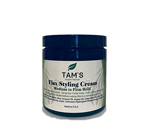 Tam's Flax Styling Cream (8oz) Curly Hair Cream help Frizz and Holds Curls Pattern. Also great for Re-twisting Dreads and Wash & Go
