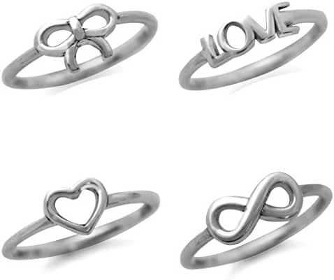 925 Sterling Silver Infinity Knot, Heart, Love & Bow 4-Pc Set Knuckle/Midi Ring
