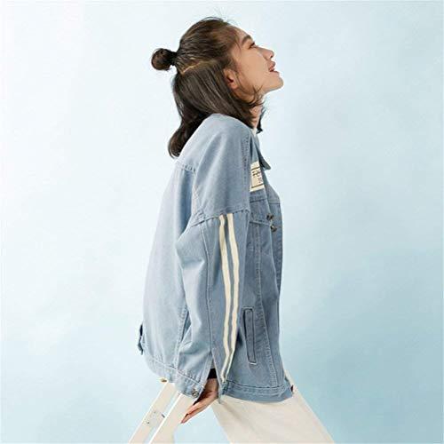 Con Primaverile Prodotto Blau Bavero Mode Lunga Donna Autunno Button Tasche Bolawoo Manica Festiva Marca Outerwear Giaccone Cappotto Elegante Fidanzato Plus Di Giuntura Vintage Giacche Strisce Jeans f1Uqw6