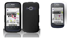 T-Mobile ZTE Concord II Z730 - Black Protective Snap-On Hard Cover Case + ATOM LED Keychain Flashlight + Screen Protector