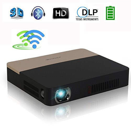 DLP 3D 4K Bluetooth Projector - Portable Dual WiFi Built-in Battery Airplay Miracast Googleplay Kodi XBMC for Home Theater Cinema, Business, Education, PPT, Presentation