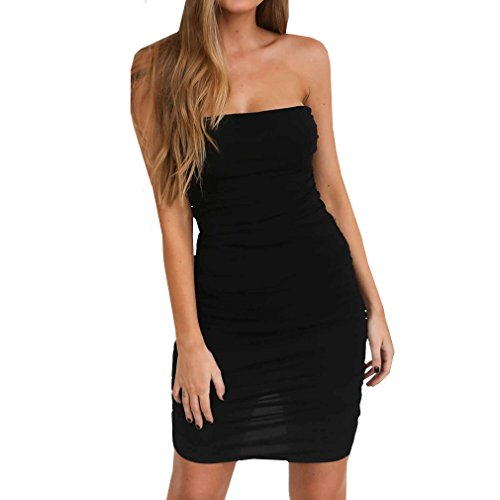 (MOLFROA Women's Sexy Slim Bodycon Strapless Neck Short Mini Party Club Cocktail Fold Dresses (L,Black))