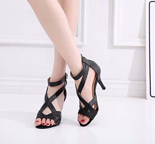 Wedding Dancing Salsa Ankle Latin Sole Shoes Rubber Shoes UK Party Strap Black Soft Ladies MINITOO 4 qz4wPUp