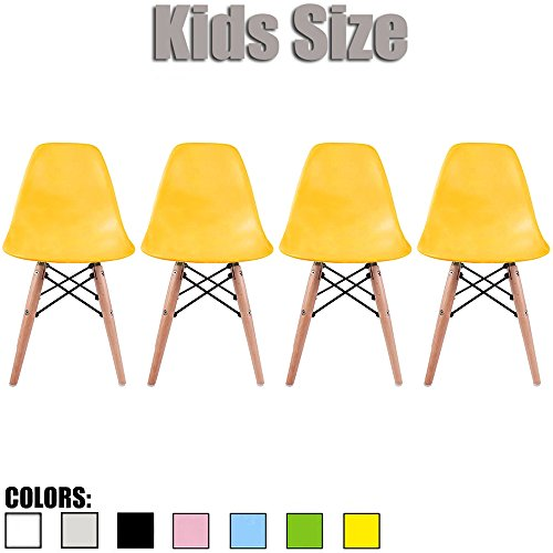 Yellow Natural Wood - 2xhome - Set of Four (4) - Yellow - Kids Size Side Chairs Yellow Seat Natural Wood Wooden Legs Eiffel Childrens Room Chairs No Arm Arms Armless Molded Plastic Seat Dowel Leg
