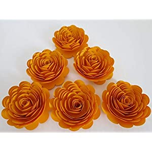Gold Paper Roses, Matte 3 Inch Flowers, Set of 6, Golden Anniversary 50th Party, Table Centerpiece Decorations, Fall Wedding Decor, Thanksgiving 46