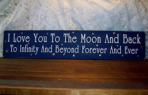 CELYCASY I Love You to The Moon and Back Wood Sign Infinity and Beyond Wall Decor, Nursery Decor, Wall Art (Infinity Love Sign)