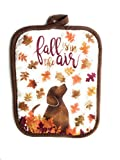 Fall Autumn Oven Mitt & Pot Holder Set With Dog Print and 4 oz. Simmering Potpourri Pumpkin Spice