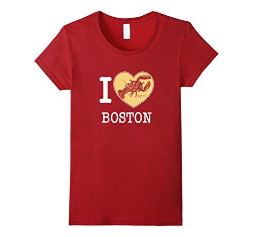 Women's I Love Boston Massachusetts Lobster T Shirt Large...
