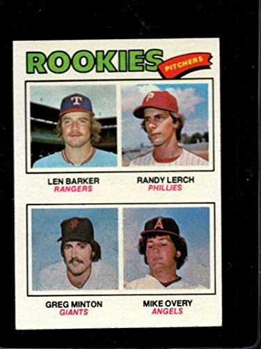 1977 TOPPS #489 LEN BARKER/RANDY LERCH/GREG MINTON/MIKE OVERY ROOKIE PITCHERS EX RC - Minton Pitcher