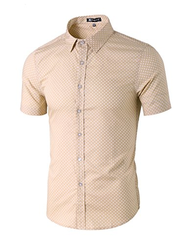 uxcell Men Summer Casual Polka Dots Short Sleeve Button Down Cotton Shirts Large Sand