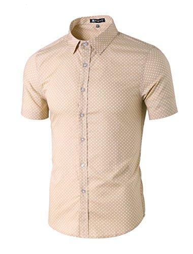- uxcell Men Summer Casual Polka Dots Short Sleeve Button Down Cotton Shirts Sand XL (US 46)