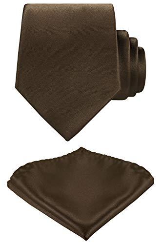 Solid Color Neck tie, Pocket Square set,Satin Super Fine Micro Fiber,Silky Finishing,Gift Box Packing. (Dark Brown) ()