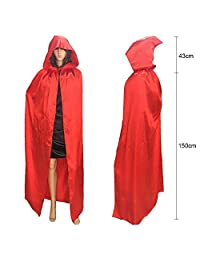Cuitan 150cm Long Hooded Cloak Cape for Adults Women Men, Red Magician Silk Satin Costumes Accessory Full-Length Witch Wizard Shawl Robe for Halloween Christmas Cosplay Masquerade Fancy Dress Party