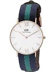 Daniel Wellington Unisex 0553DW Grace Warwick Rose Gold-Tone Stainless Steel Watch with Striped Nylon Band