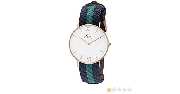 Daniel Wellington 0553DW - Reloj de cuarzo para mujer, con correa de tela, color: Amazon.es: Relojes