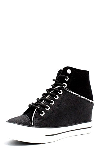 Cafè Noir LDG925010390 010 Nero 39 Sleeved Sneaker With Leather and Felt With Interior Curtains nt6X8