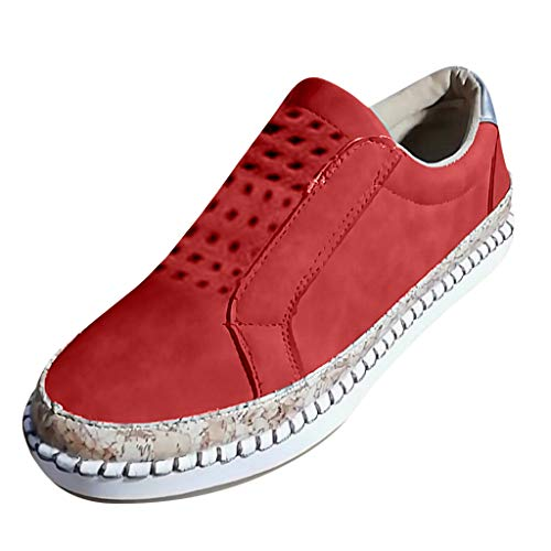 f1dce531f33e0 Wkgre Womens Shoes Fashion Retro Classic Refined Flats Hollow Round Toe  Casual Non-Slip Breathable Outdoor Sneakers (US:5.5-6, Red)