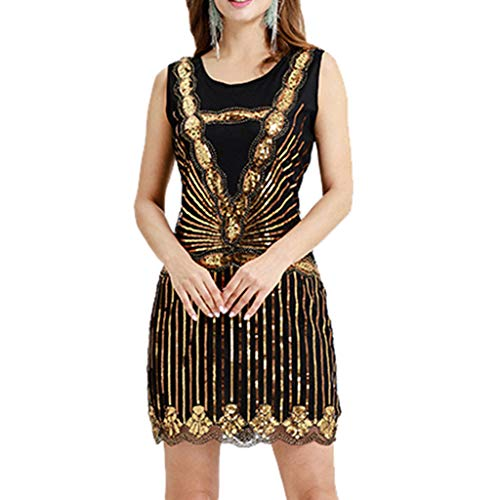 Usstore  Women Sequin Vintage Banquet Gown Fashion Bead Tassel Lace Party Flapper Wedding Cocktail Prom Dress (XXL, -