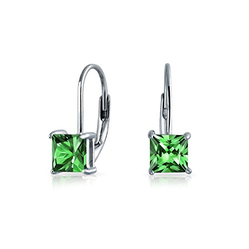 (1CT Green Brilliant Princess Cut Solitaire Square CZ Leverback Drop Earrings Simulated Emerald 925 Sterling Silver)
