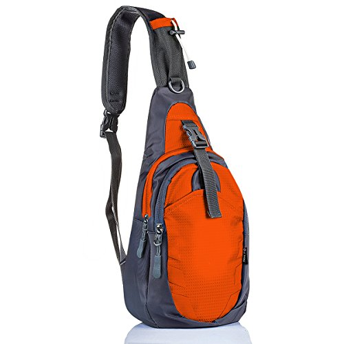 LC Prime Sling Bag Backpack Chest Shoulder Compact Fanny Sack Satchel Outdoor Bike Nylon Fabric Orange