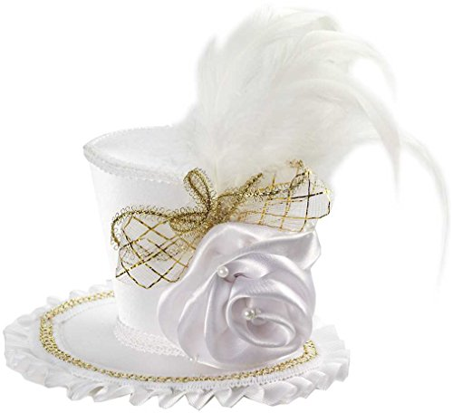 White Mini Top Hat (Forum Novelties Women's Mini Top Hat with Rose Costume Accessory, White, One Size)