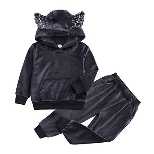 (Boys Girls Velvet Tracksuit Hooded Sweatshirt Top + Sweatpants Kids Velour Outfits Set(12M-8T))